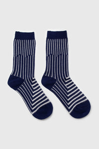 Navy and white geometric socks3