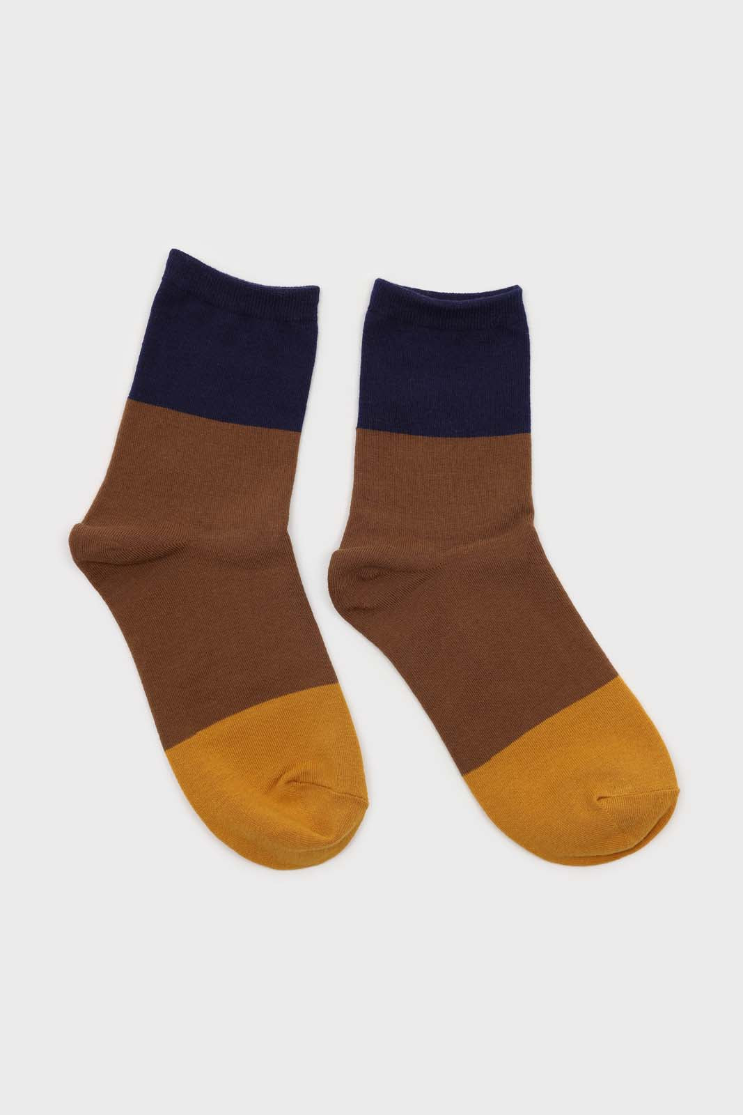 Camel and blue triple colorblock socks2