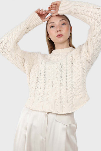 Ivory chunky cable knit top1