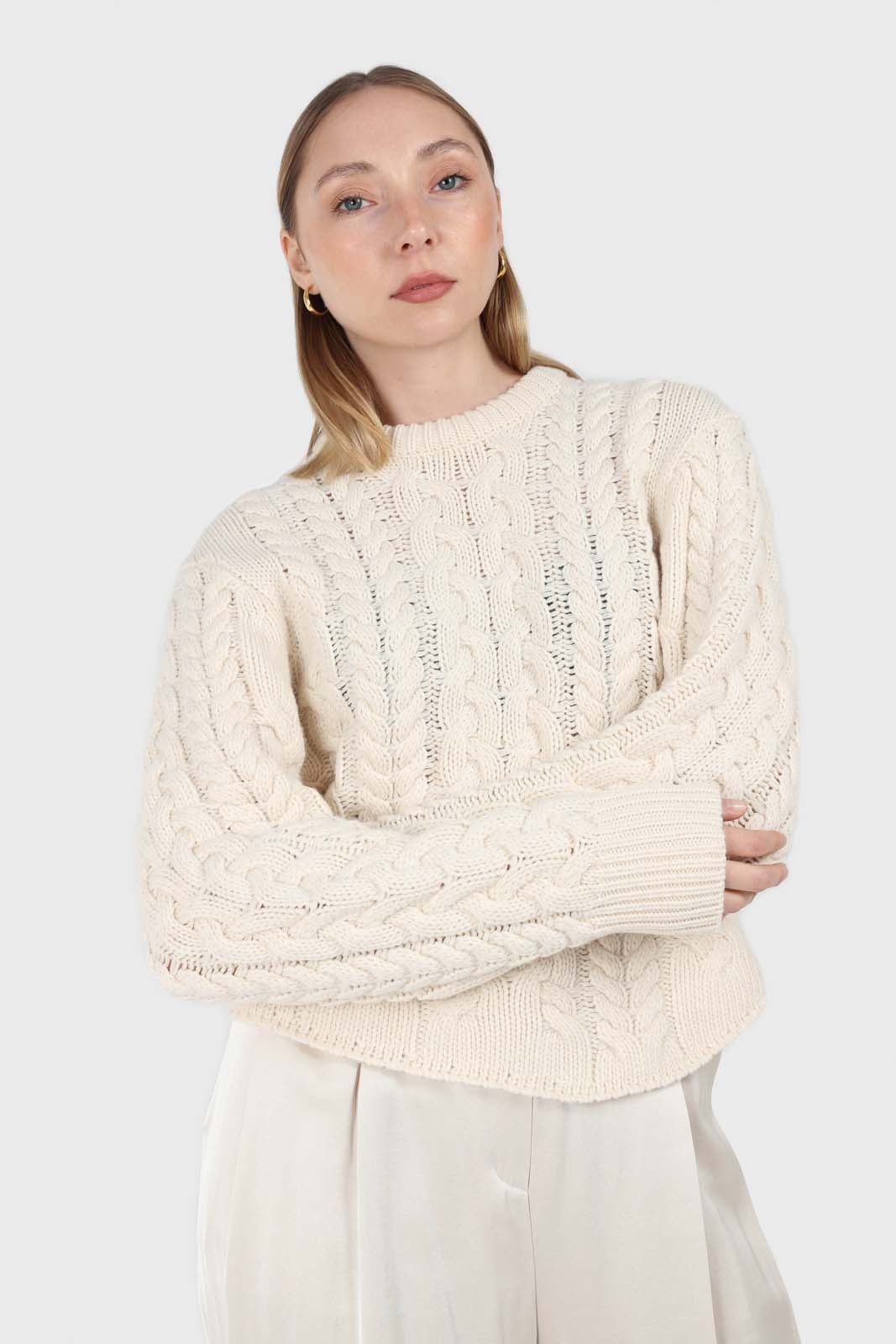 Ivory chunky cable knit top2