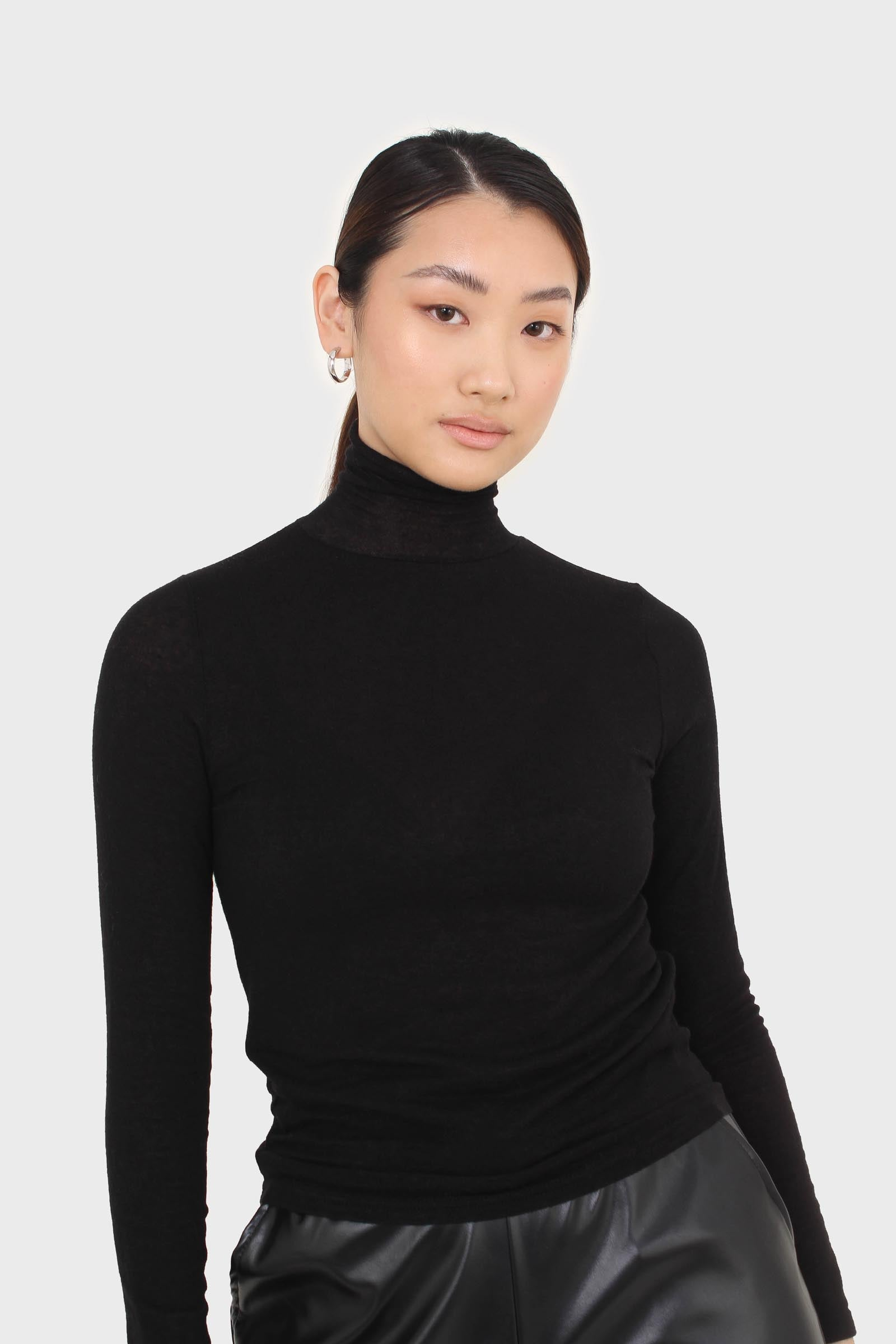 Black wool blended thin turtleneck top5