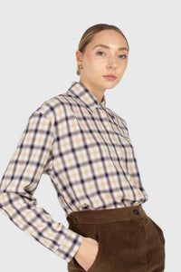 Beige and black plaid soft shirt1