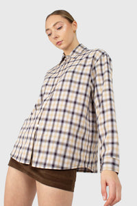 Beige and black plaid soft shirt3