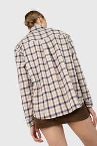 Beige and black plaid soft shirt4