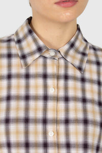 Beige and black plaid soft shirt5