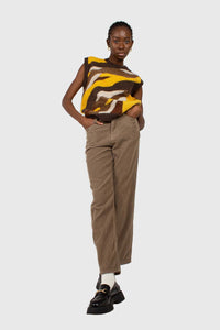 Beige corduroy loose fit trousers - 8121