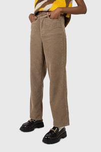 Beige corduroy loose fit trousers - 8122