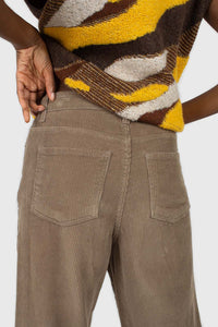 Beige corduroy loose fit trousers - 8123