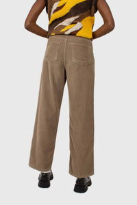 Beige corduroy loose fit trousers - 8124