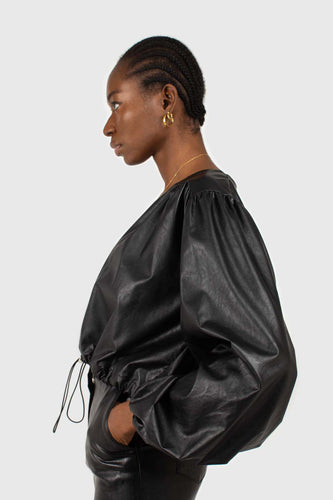 Black vegan leather v-neck puff sleeved blouse6