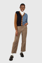 Load image into Gallery viewer, Blue and mustard colorblock wool blend cardigan2