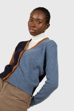 Load image into Gallery viewer, Blue and mustard colorblock wool blend cardigan3