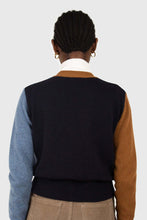Load image into Gallery viewer, Blue and mustard colorblock wool blend cardigan4