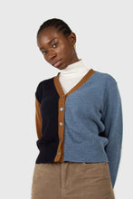 Load image into Gallery viewer, Blue and mustard colorblock wool blend cardigan5