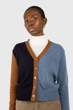 Load image into Gallery viewer, Blue and mustard colorblock wool blend cardigan6
