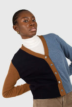 Load image into Gallery viewer, Blue and mustard colorblock wool blend cardigan7