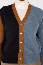 Load image into Gallery viewer, Blue and mustard colorblock wool blend cardigan9