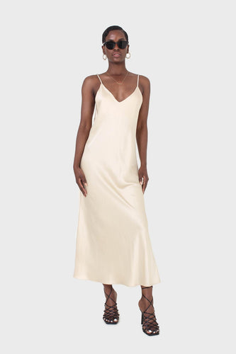 Cream silky spaghetti strap slip dress1