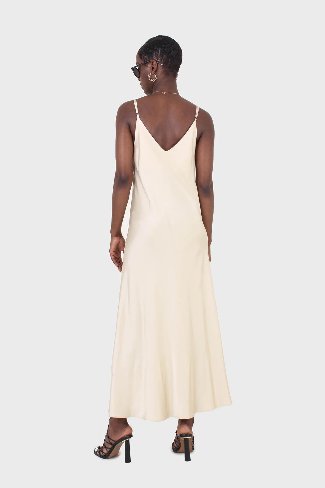 Cream silky spaghetti strap slip dress2