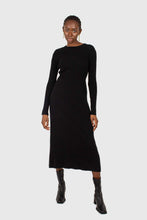 Load image into Gallery viewer, Black large ribbed wool blend midi dress1