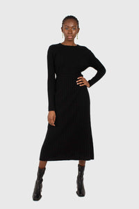 Black large ribbed wool blend midi dress2