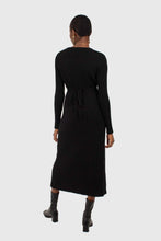 Load image into Gallery viewer, Black large ribbed wool blend midi dress3