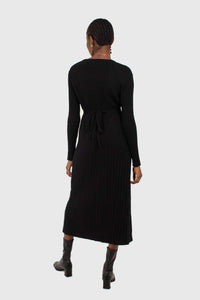 Black large ribbed wool blend midi dress3