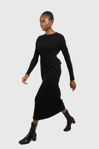 Black large ribbed wool blend midi dress4
