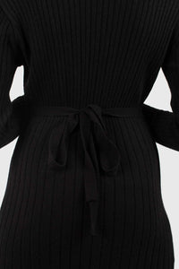 Black large ribbed wool blend midi dress5