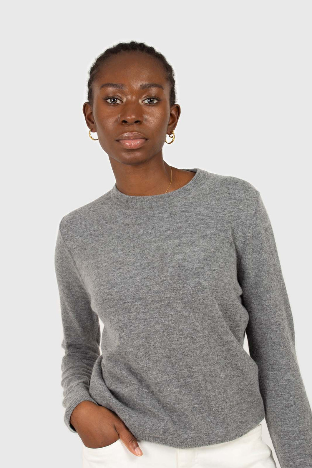 Grey cashmere blend crew neck knit top1