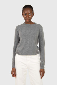 Grey cashmere blend crew neck knit top3