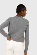 Load image into Gallery viewer, Grey cashmere blend crew neck knit top4
