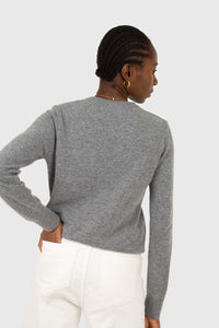 Grey cashmere blend crew neck knit top4