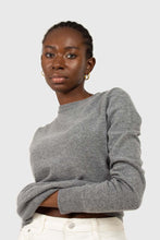 Load image into Gallery viewer, Grey cashmere blend crew neck knit top5