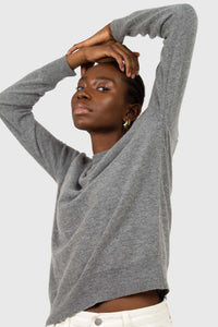Grey cashmere blend crew neck knit top6