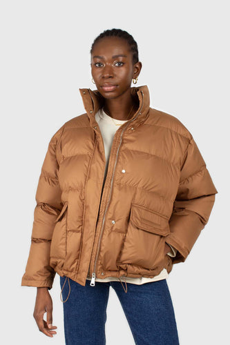 Brown patch pocket puffer jacket1