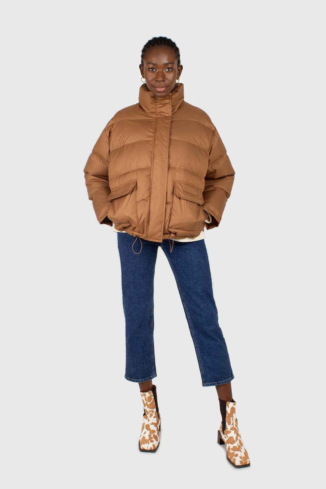 Brown patch pocket puffer jacket2