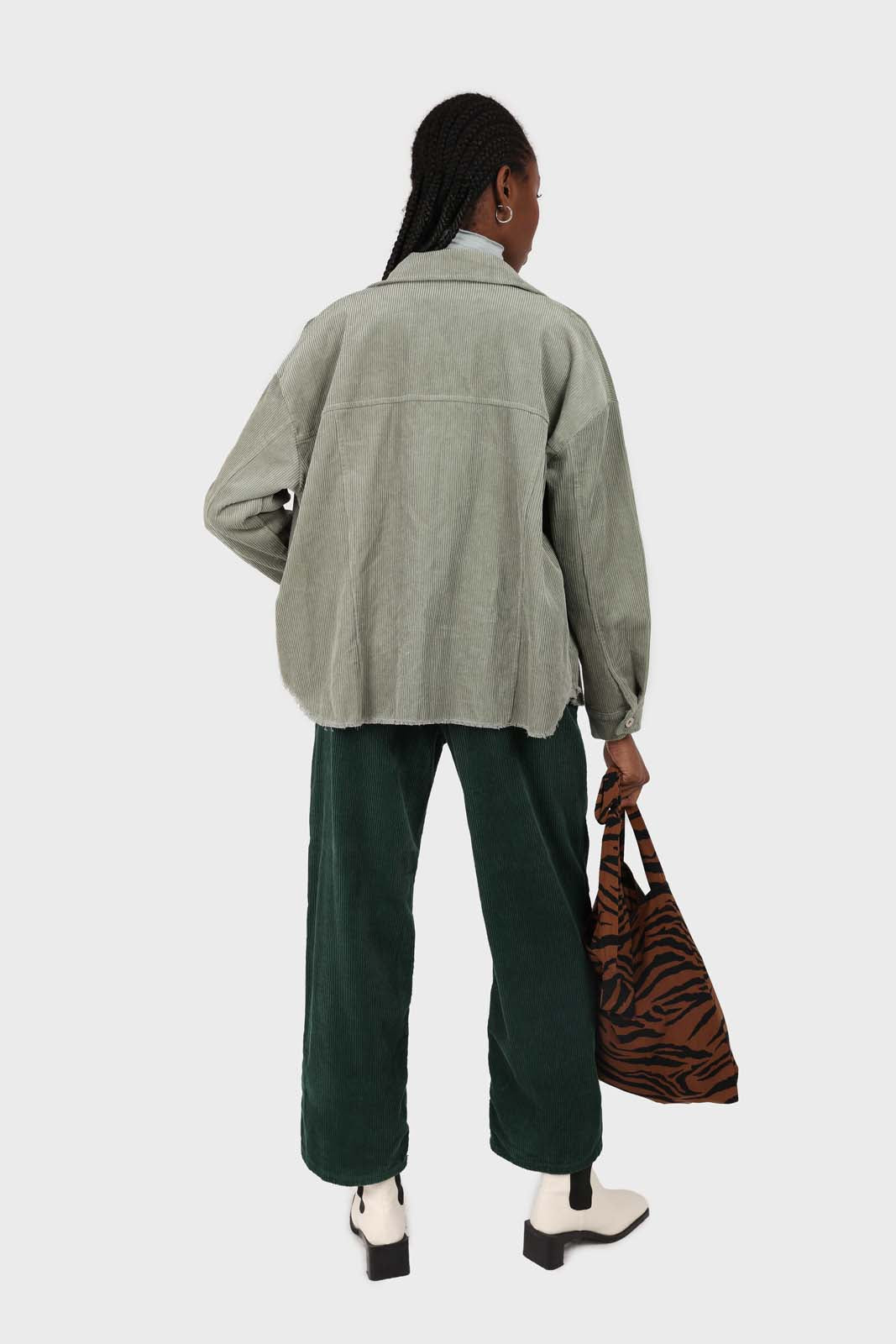 Green corduroy side button loose fit trousers13