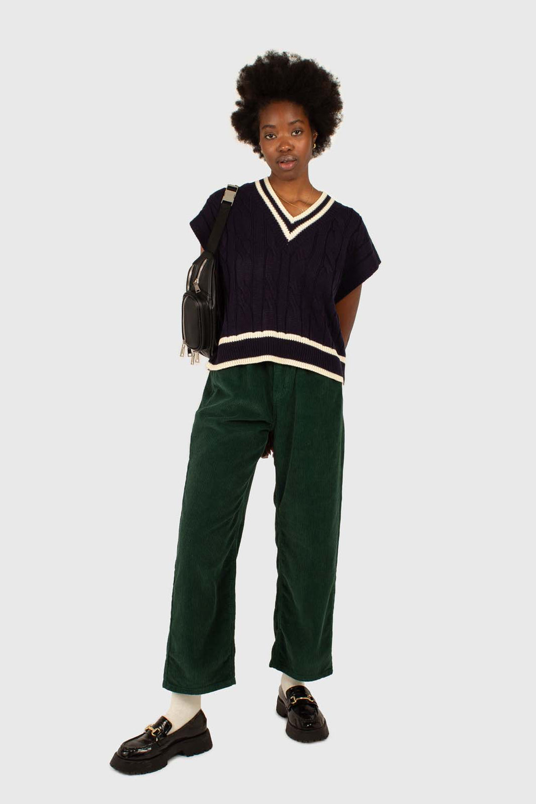 Green corduroy side button loose fit trousers1