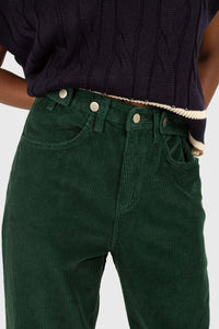 Green corduroy side button loose fit trousers2