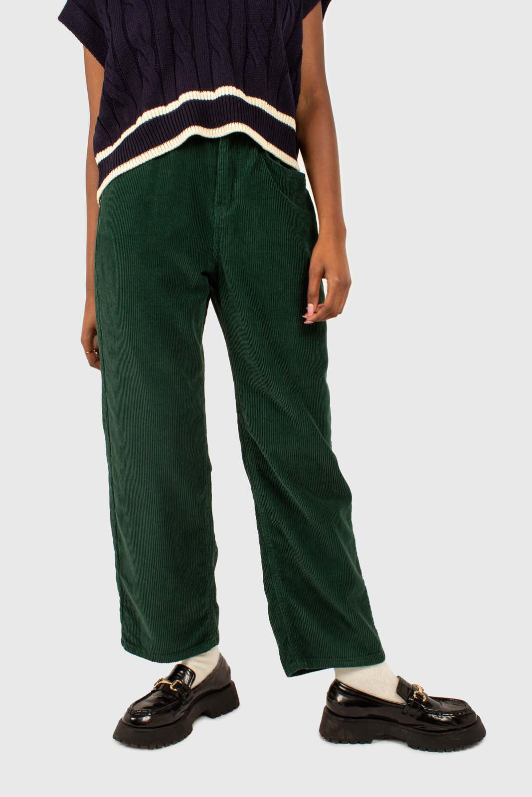 Green corduroy side button loose fit trousers3
