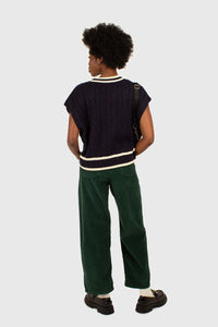 Green corduroy side button loose fit trousers4