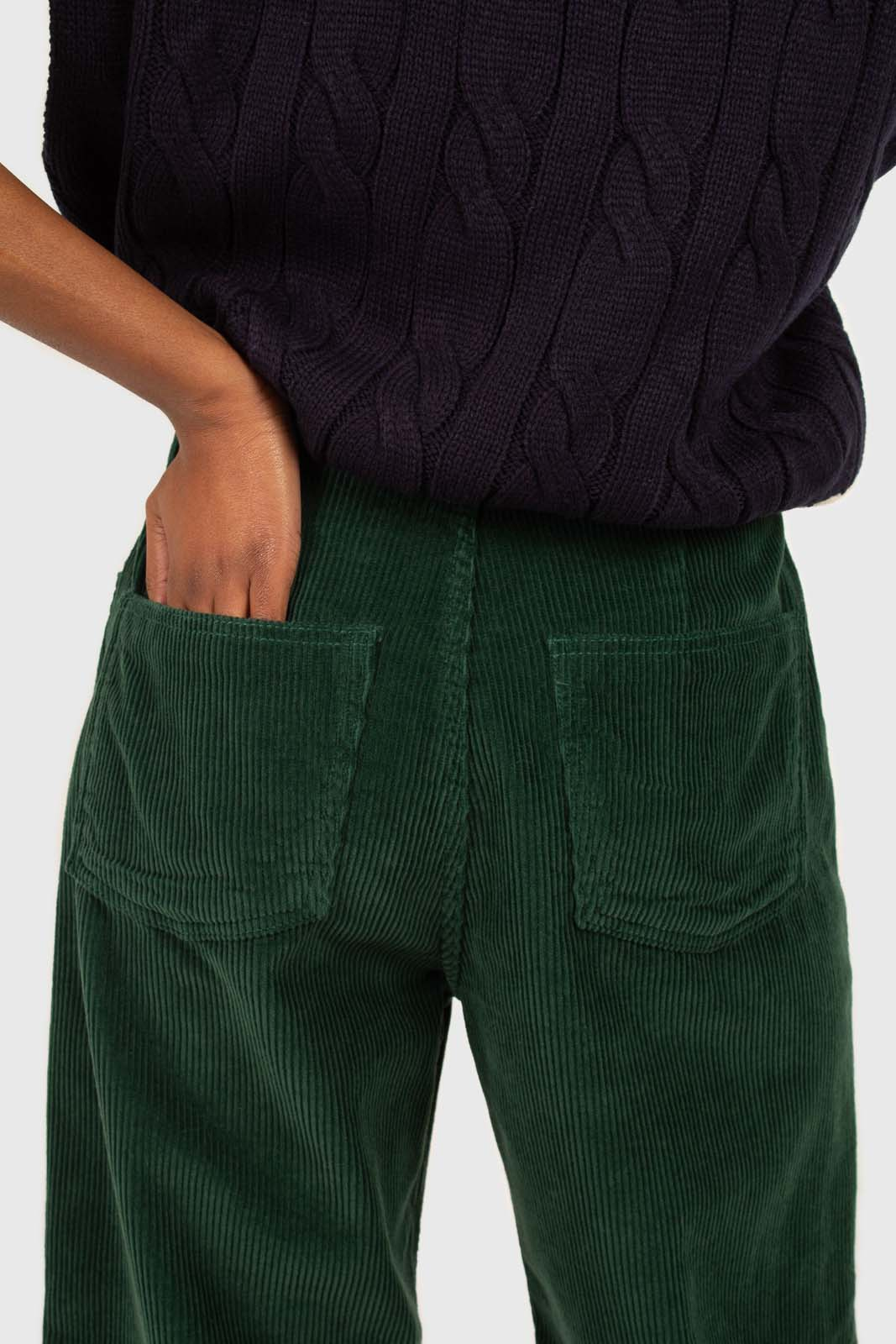 Green corduroy side button loose fit trousers5