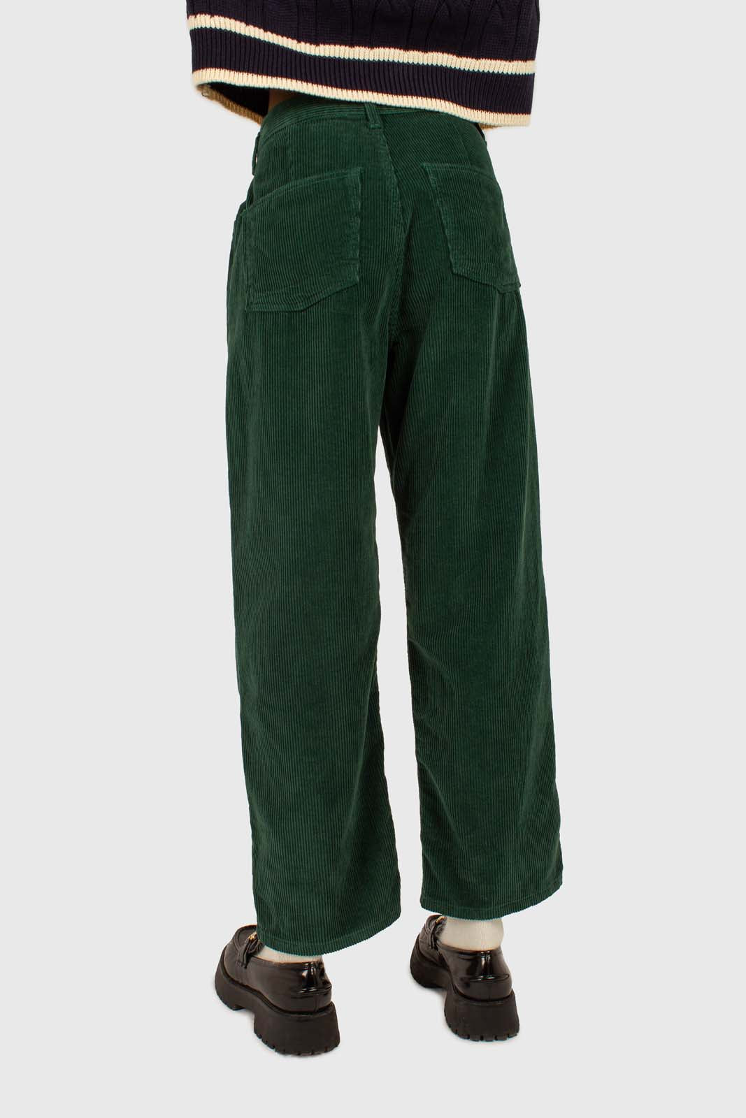 Green corduroy side button loose fit trousers6