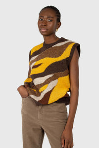 Brown and yellow layered intarsia vest1