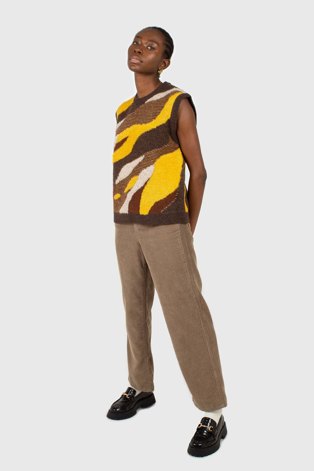 Brown and yellow layered intarsia vest2