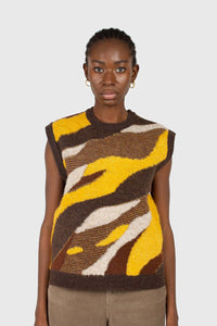 Brown and yellow layered intarsia vest3