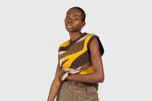 Brown and yellow layered intarsia vest5