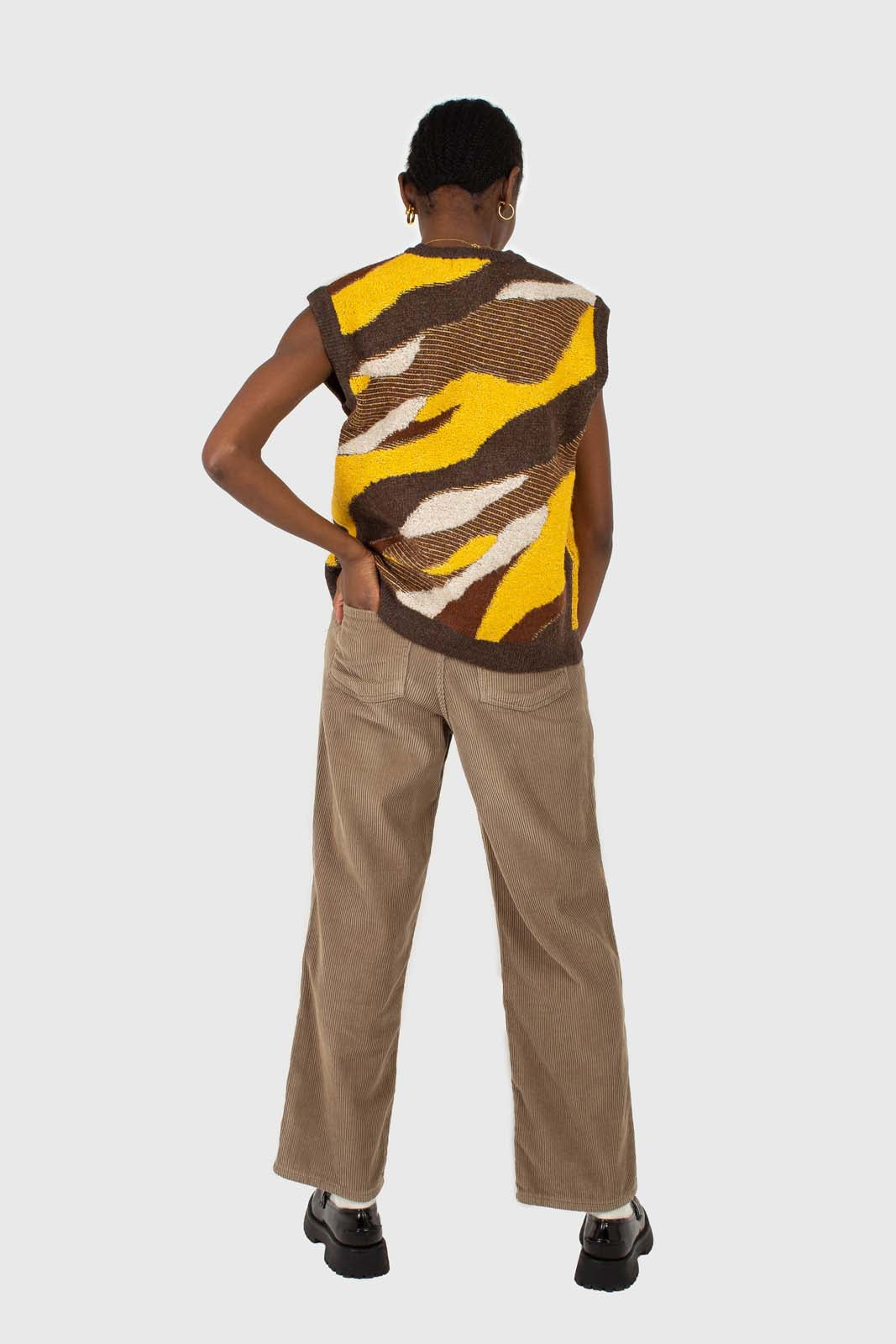 Brown and yellow layered intarsia vest6