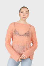 Load image into Gallery viewer, Pale orange sheer cableknit wool blend jumper1sx